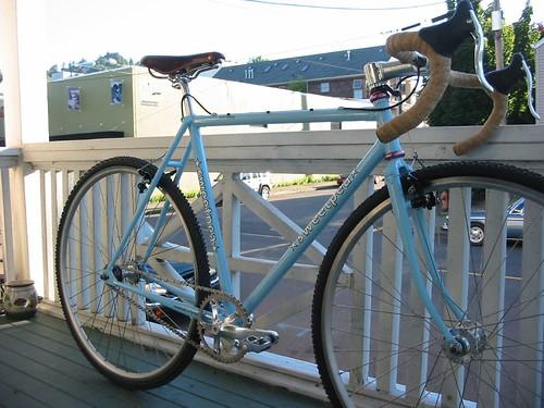 cross bike on porch