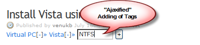 Ajaxified adding of tags