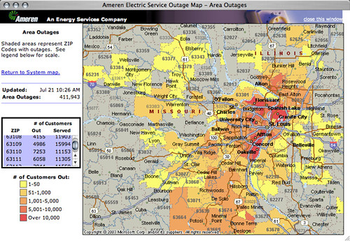 Ameren UE's Electricity Outage Map updated Jul 21 10:26 AM