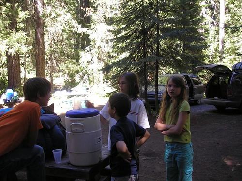Kids looking at bug at camp