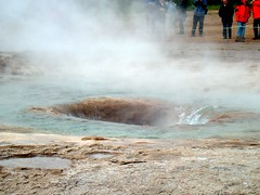 After an eruption, water flows into Strokkur