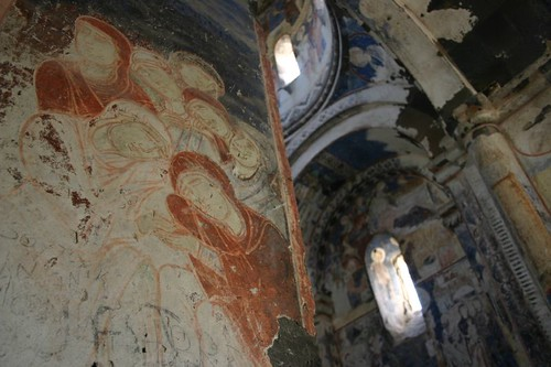 Frescoes at the Ani ruin city...