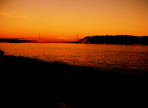 glowing lions gate bridge