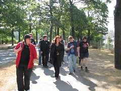 Sari and the group walking through the park