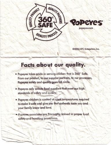 Popeyes napkin