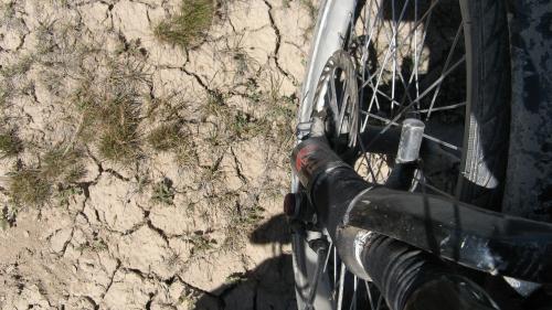 Dry ground between Balguntay and Narat, western China / 乾燥している土地 - バルグンタイ町とナラット町の間(中国)