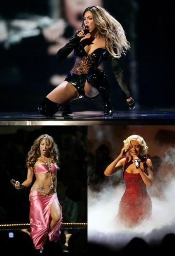 Beyoncé, Shakira e Christina Aguilera se apresentando no VMA