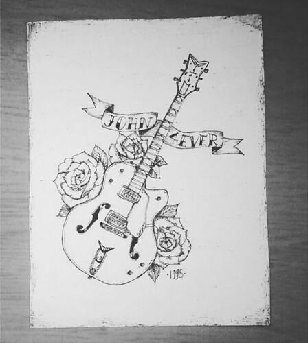 [W] aujourd'hui c'était après midi #dessin a la demande! #drawing #guitar #dimancheapresmidi