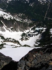 looking down on snow lake and bench lake from summit