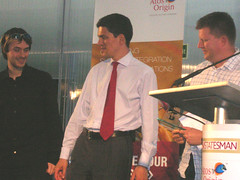 Tom and myself collect the award from David Milliband MP
