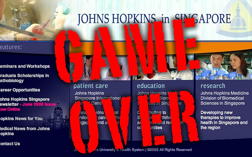 Game Over for Johns Hopkins University and Singapore partnership