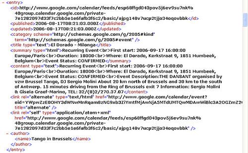Google Calendar: XML entry