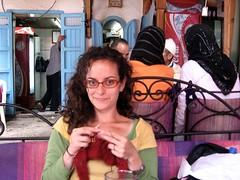 Jess Knitting, Cafe @ Plaza Uta el-Hammam - Chefchaouen
