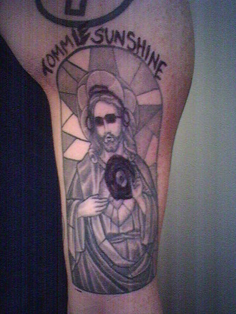 christ tattoo. sharpied his Christ tattoo