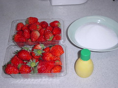 strawberry and lemon liquid and granulated sugar
