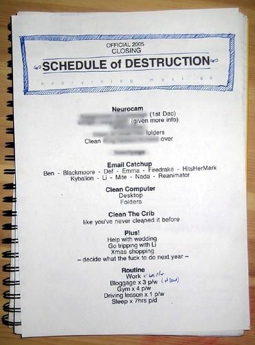 SCHEDULE of DESTRUCTION