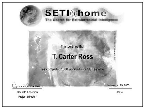 SETI@home 1,000 Workunits Certificate