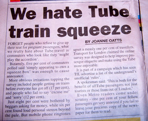 Metro Publish London Underground Survey Results of Tube Pet Hates