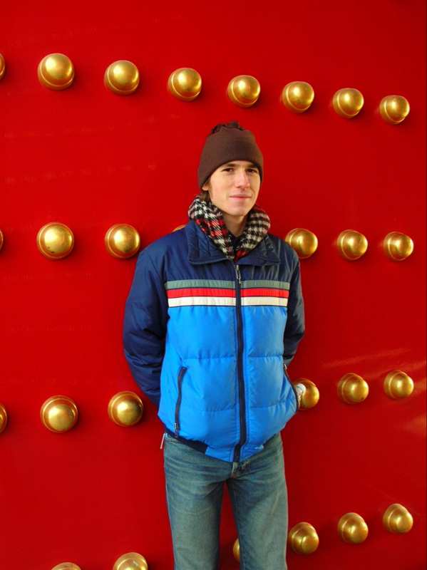 andrew and a door at the forbidden city
