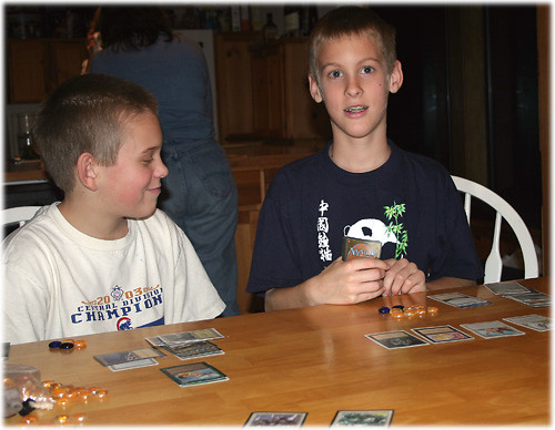 Matthew and Jacob Playing Magic