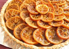 Roasted Clementine and Chocolate Tart With Macadamia Nut Crust
