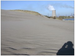 self portrait with coal cooling tower that looks like 3 Mile Island