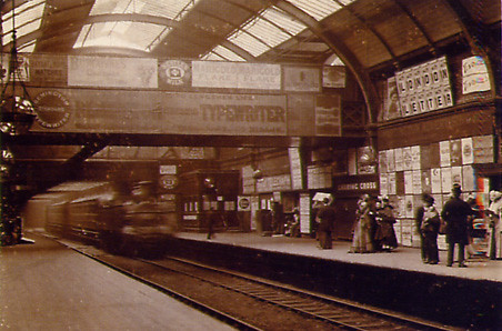 Ads at Charing Cross Station 1894 from The Moving Metropolis