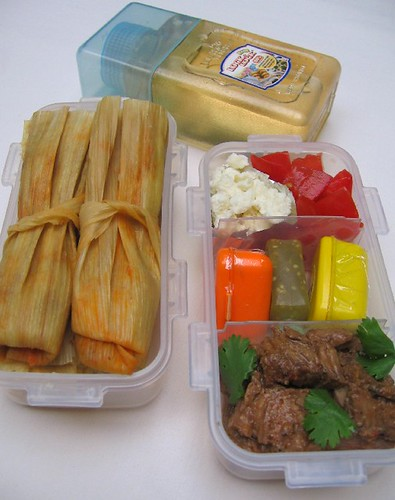 Homemade tamale lunch