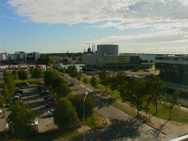 The view from the hotel window at the Radisson, Oulu