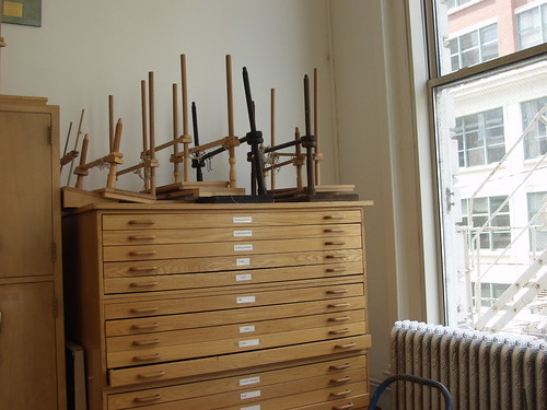 flat files and sewing frames at Columbia