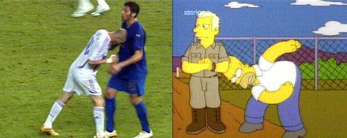 Parecido razonable entre Homer Simpson y Zidane dando un cabezazo