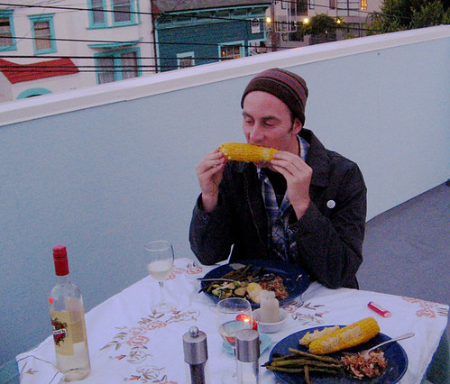 hugh is winning the corn eating contest!