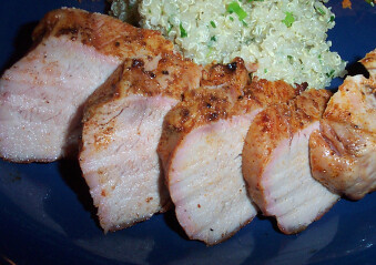 Brined pork tenderloin with quinoa