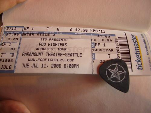 Foo Fighters concert ticket & pick!