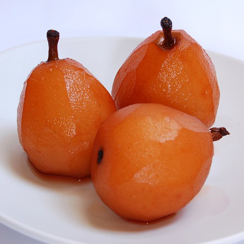 red wine poached pears© by haalo
