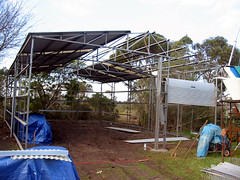 Some of the roof is up.