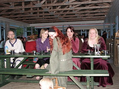 Tomi, Leila, Maarit, Johanna and Tytti sitting at a table