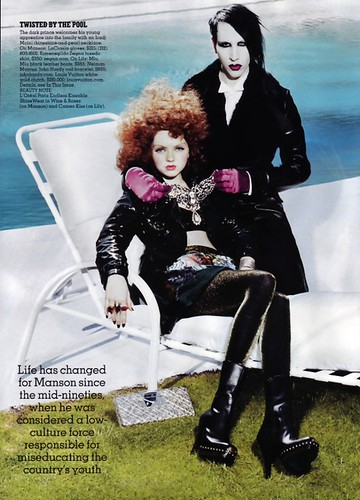 Marilyn Manson and Lily Cole | by Miles Aldridge | Fashion Rocks | September 2006