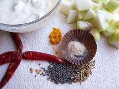 Redchillies,SourCurd,Bottlegourd pieces,turmeric,mustard seeds,Menthi,Cumin Seeds,Asafoetida