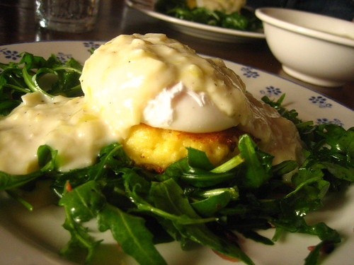 Breakfast - Poached Egg over Polenta Cake with Leek Gravy