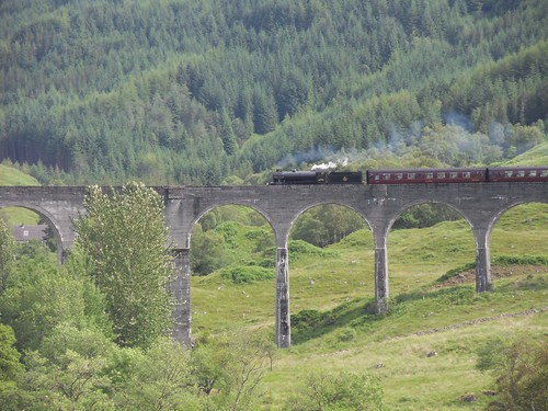 Glenfinnan Viaduct and The Jacobite heading to Mallaig