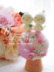 Wedding Cake Topper-love bird with flower tree photo by charles fukuyama
