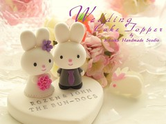 Wedding Cake Topper - cute rabbit with sweet heart photo by charles fukuyama