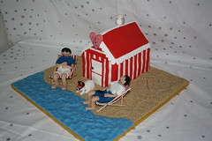 bech hut wedding photo by Novelty cakes by Sarah