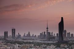 Kuwait City Skyline view with Pinky sky photo by © Saleh AlRashaid / www.Salehphotography.net