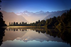 Morning sun . Lake Matheson . View to Mount Cook photo by Uhlenhorst . Away for longer time