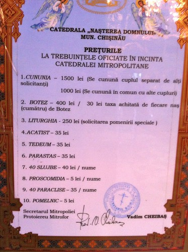 Prețurile la trebuințele oficiate în incinta Catedralei Mitropolitane Ortodoxe din Chiși nău