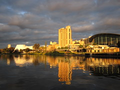 Adelaide skyline from the River Torrens at sunset photo by Adriano_of_Adelaide
