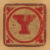 Vintage Wooden Block Letter Y