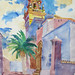 'Courtyard and palm tree'; Watercolour on paper; 52x70cm